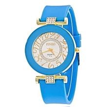 New Fashion Silicone Bling Crystal Quartz Watch Women & Girls(Blue)
