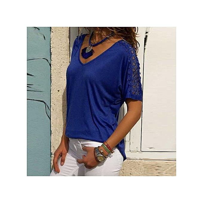 c5b9b41690bb8d Hiaojbk Store Fashion Womens Short Sleeve V Neck Lace Patchwork Casual  Shirt Blouse-Blue