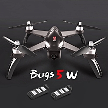 Bugs 5W 1080P 5G Wifi FPV Camera GPS Positioning Altitude Hold RC Drone w/ Two Batteries