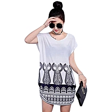 summer new large size women's loose thin printed clothes ladies short-sleeved t-shirt women's shirt summer