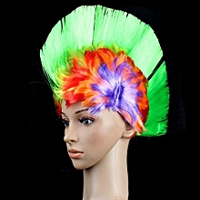 Rainbow Mohawk Hair Wig Rooster Fancy Costume Punk Rock Halloween Party Decor Size:Rainbow Green