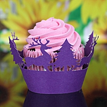 Christmas Hollow Lace Cup Muffin Cake Paper Case Wraps Cupcake Wrapper Purple