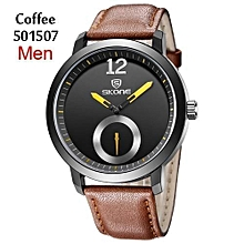 Men Wooden Quartz Watch Leather Band Concise Dial 3Atm Wristwatch Fashion Wood Watches