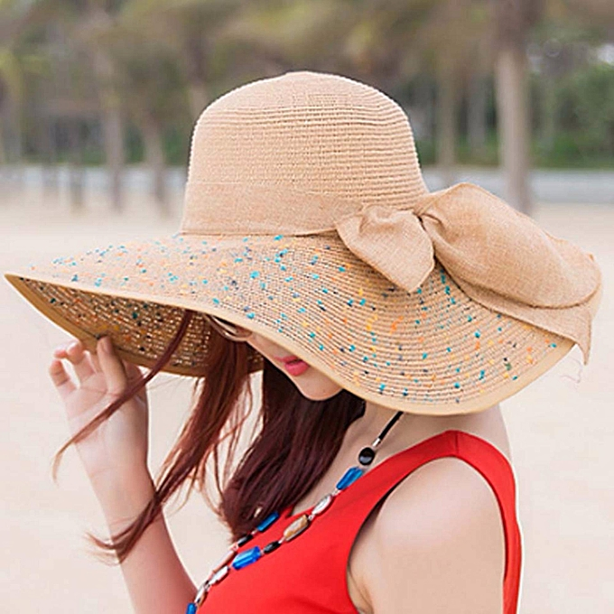 7f66de28 Elegant Fashion Seaside Sun Visor Hat Female Summer Sun Hats For Women  Large Brim Straw Sun