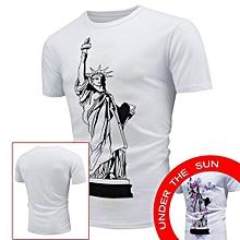 Hot Men's Tops Shirt Encounter Sun Change Color Short Sleeve Casual T-Shirt-white