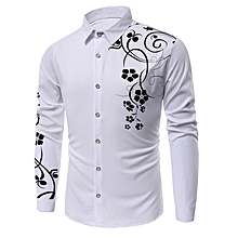 Floral Printed Long Sleeves Shirt - WHITE