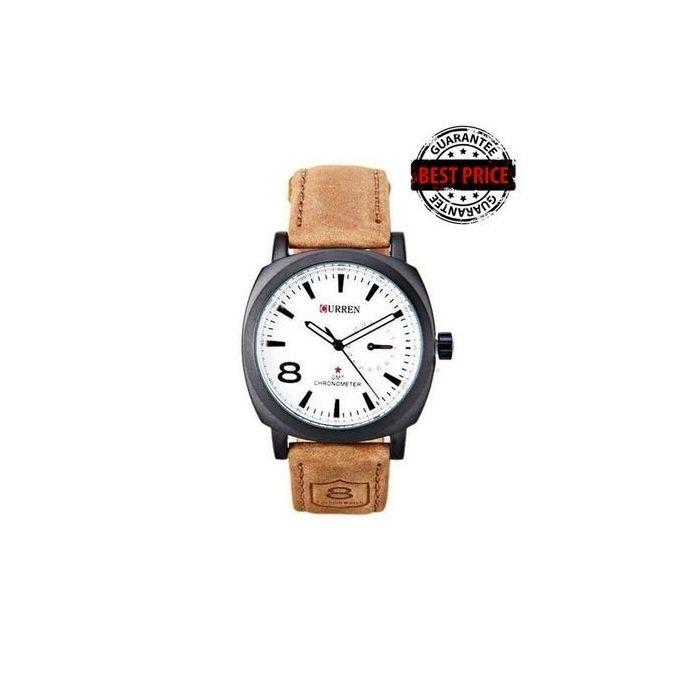 Tan Sports Waterproof - Leather Strap Wrist Watch - [1839] - White Dial Watch