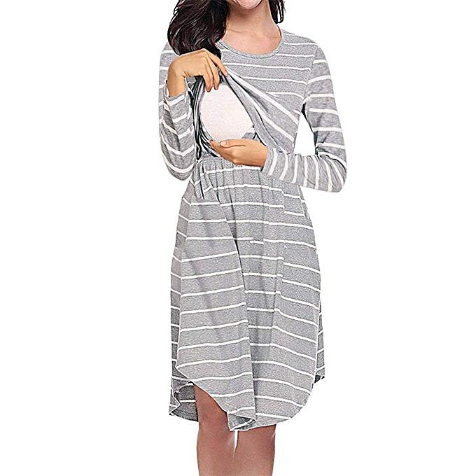 a3ca97b0701a1 Women's Maternity Dress Nursing Baby Folding Pregnancy Stripe Clothes