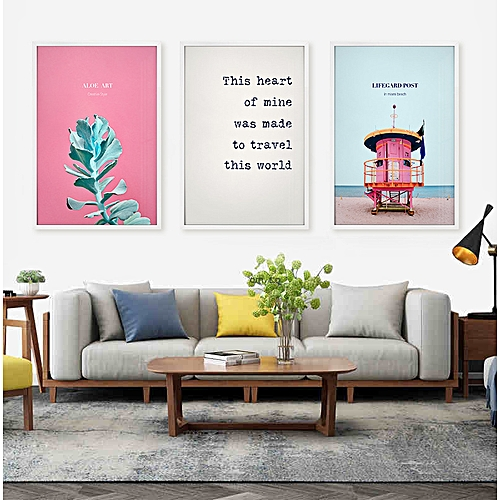 Qukau 3pcs 40 60cm Wall Painting Picture Mural Flamingo Scenic Living Room Decoration Painting Hanging Letters Sofa Background Murals
