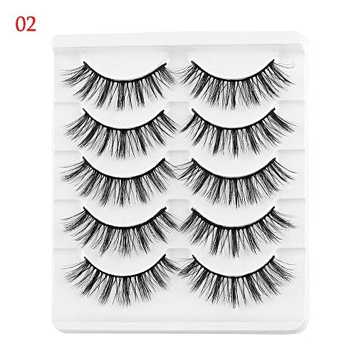 cd5fd1fb6d7 Generic 5 Pairs 3D Faux Mink Hair False Eyelashes Wispies Long Cross Lashes  Handmade Eye Makeup Tools(2)