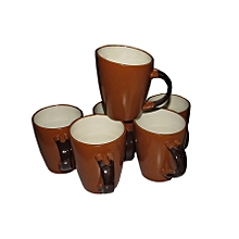 Ceramic Coffee Tea Drinking Mug Set of 6 - Brown & White