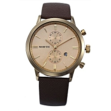 Fashion Men Casual Waterproof Date Leather Military Japan Watch Gift - Gold