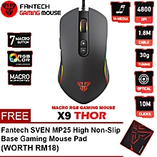 FANTECH (SP26) X9 THOR 4800DPI Seven Macro Programable Buttons USB Optical Macro RGB Gaming Mouse with 16.8 Millions RGB Lights WWD