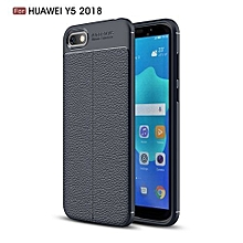 Huawei Y5(2018) Silicone Case, Litchi Pattern TPU Anti-knock Phone Back Cover For Huawei Y5(2018) - Blue.