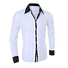 Fashion Personality Men's Casual Slim Long-sleeved Shirt Top Blouse - White   M