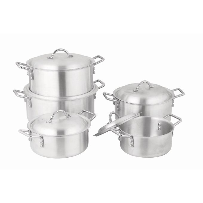 Kitchen pro 5 pcs aluminium cookware pot set with lid for Buy kitchen cookware