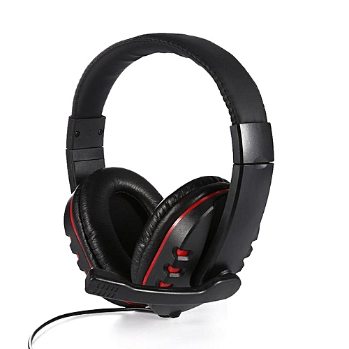 18212447974 Generic Gaming Headset casque Luxury Leather Gaming Stereo 3.5mm Wired Headset  Headphone Over-Ear Earphone with Microphone for PS4 Gamer(Red)