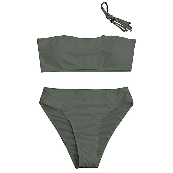 424d9f66fc4e4 Fashion High Cut Bandeau Bikini Set - OLIVE GREEN @ Best Price ...