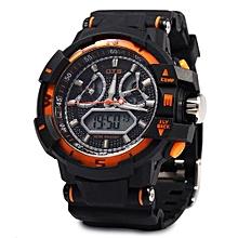 Men Sport LED Digital Luminous Analog Quartz Watch-BLACK AND GOLDEN