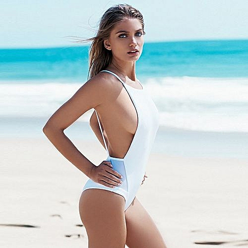 0e12db0c94d Fashion Wenrenmok Store Womens Thong Swimsuit Net Yarn Backless Swimsuits  One-Piece Sexy Bathing Suit L-White