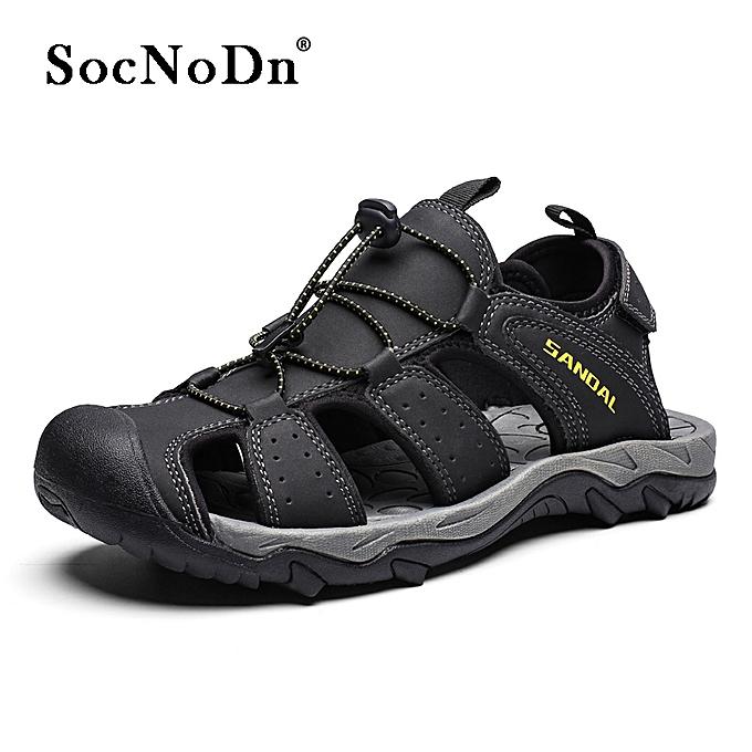 bef82f8ea SocNoDn Men Fashion Summer Casual Beach Leather Sandals Shoes Black ...