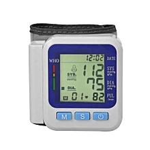 Health Care Wrist Blood Pressure Monitor LCD Digital Pulse Automatic Sphygmomanometers - White