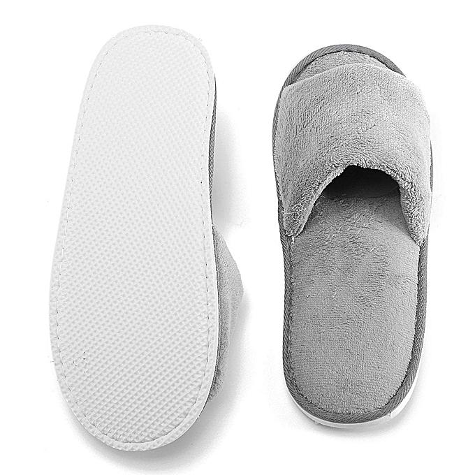 6cb94c38d58b0 ... New Women Men Open Toe Winter Slippers Warm Slippers Fleece House  Indoor Shoes ...