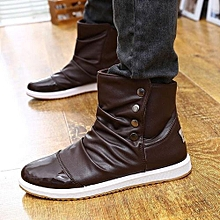 Men's Winter Flats High Top Casual Shoes Leather Slip On Ankle Boots Waterproof BROWN