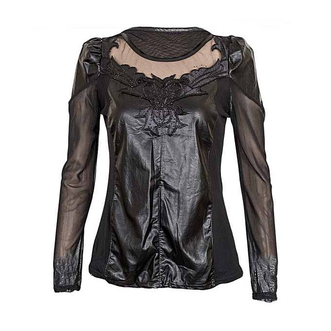 2830ff5a5c330 TRINITY Black Long Sleeved Top With Sheer And Faux Leather Detail ...