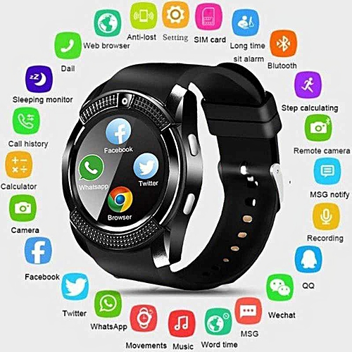 Bluetooth V8 Smart Watch Smartwatch Women / Men Clock Phone Call SIM TF  CamSupport CamBT 4 0 For IOS android Clock Round (Black) TXSHOP