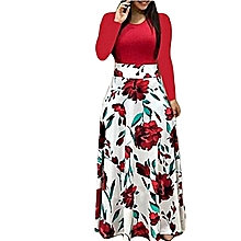 Women's Dress Floral Printed Long Sleeve Dress Red And White