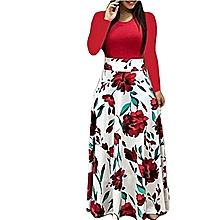 b635a3cc0a42 Women  039 s Dress Floral Printed Long Sleeve Dress Red ...