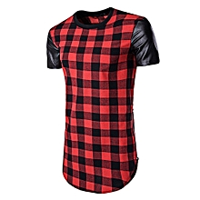 PU Leather Panel Side Zip Up Plaid Longline T-Shirt - RED