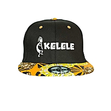 Black And Orange Snapback Hat With Kelele Colors On Brim