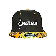 Black And Orange Snapback Hat With Kelele Colors On Brim