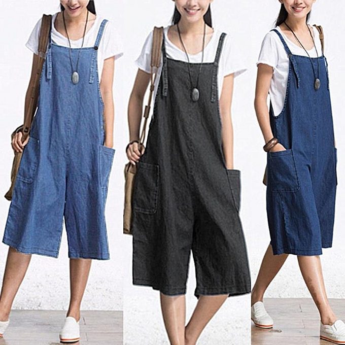 ab95404fa60 ... ZANZEA Rompers Womens Jumpsuit Summer Autumn Sleeveless Fashion Wide  Leg Pants Denim Calf Length Vintage Overalls ...