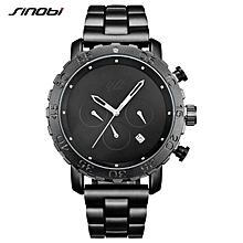SINOBI Relogio Masculino Men's Sports Watches Spy Black Stainless Steel Waterproof Business Wristwatch Chronograph Quartz Watch (Black) BDZ