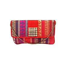 Multicolour Brocade Clutch with Square Diamond Brooch - Red