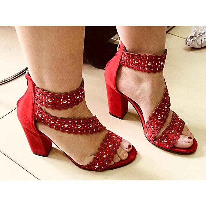 ed61ae499d5 Generic Red block mid low heel   Best Price