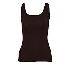 Women Brown Cotton Stretch Camisole Vest
