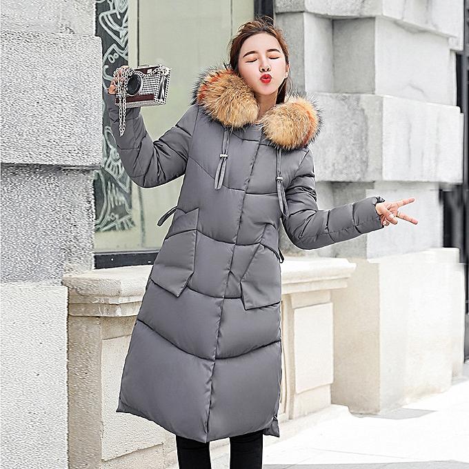 8b7a58cc750 Women Winter Warm Faux Fur Hooded Thick Warm Slim Jacket Long Overcoat Coat -Grey.