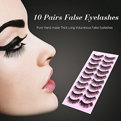 468e2f6056d Generic 10 Pairs False Eyelashes Pure Hand-made Thick Long Voluminous Fake  Lashes