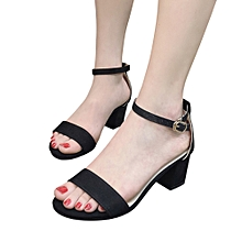 Generic Fashion Women Ladies Sandals Ankle Mid Heel Block Party Open Toe Shoes A1