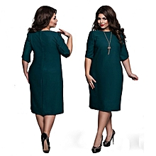 Generic Summer Fashionable 4XL 5XL 6XL Plus Size Women Dresses Elegant O Collar Knee Length Dress Casual Big Large Size Mother Dress