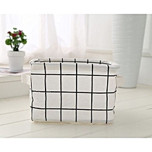 TMISHION Foldable Convenient Storage Laundry Box Basket (White Lattice)