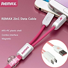 REMAX 2 In1 Universal Magnetic Micro USB High Speed Charge Sync Data Cable Pink