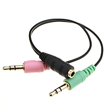 3.5mm Stereo 2 Male Jack to Female Earphone Cable Adapter for Laptop Speaker Mic (Multicolor)