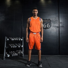 Orange Customized Men's Causal Basketball Team Training Brand Sports Shirts Shorts Jersey
