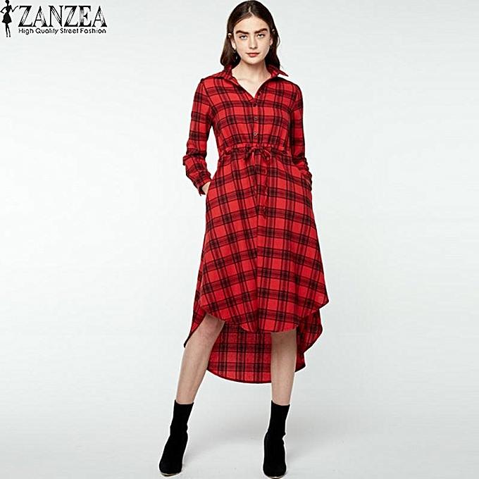 3451cba9f440 ZANZEA Asymmetric Hem Plaid Shirt Dress Women Lapel Long Sleeve Check Midi  Dress Red ...