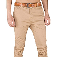 Soft Khaki Men's Trouser Stretch Slim Fit  Casual- Beige